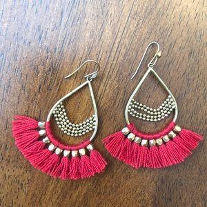 Stella & Dot Red Roman Chandelier Earrings